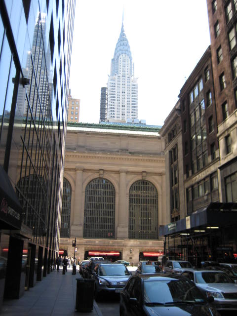 Outside Grand Central Terminal, with the Chrysler Building behind